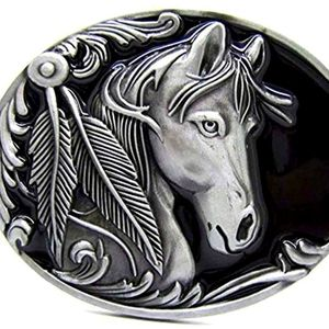 New beautiful horse with feathers belt buckle
